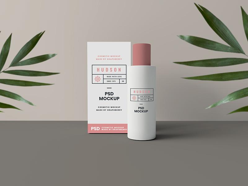 Cosmetics Packaging Mockup showcase mock-up freebie smart object psd bottle box package cosmetic download free mockup