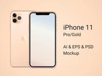 iPhone 11 Pro Gold Mockup