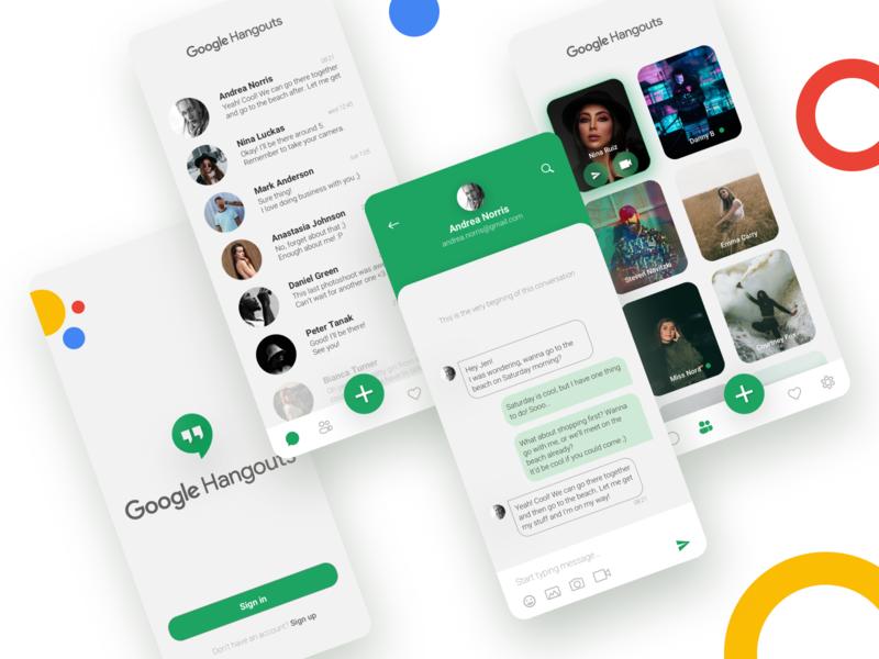 Google Hangouts Concept Redesign google ux hangouts messaging message mobile app app ui interface design