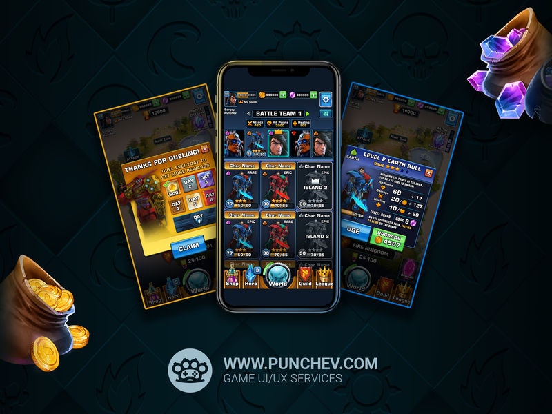 Duel - Puzzle Wars vector punchev mobile game mobile ui ui design ux design design gui interface ux ui