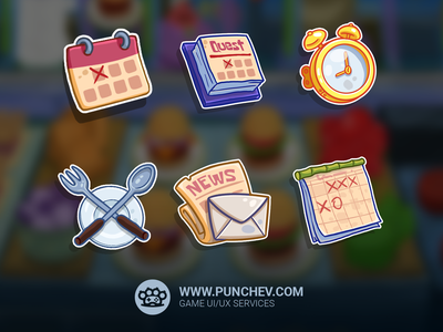 SpongeBob: Krusty Cook-Off, Icons interface design studiopunchev game ux gui ui icons