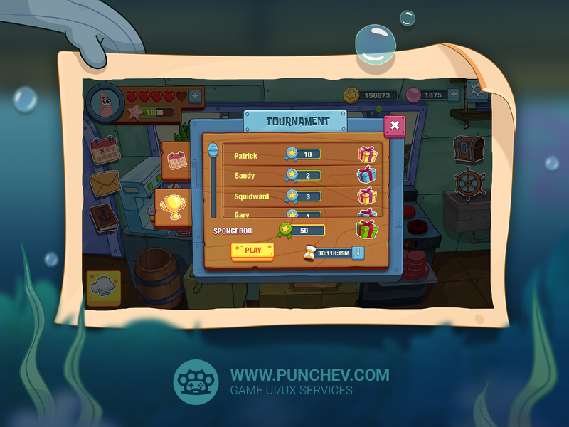 SpongeBob: Krusty Cook-Off spongebob squarepants user experience user inteface popup gameart mobilegame studiopunchev illustration game ux gui ui
