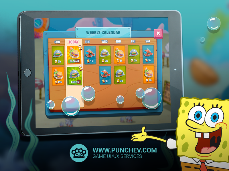 SpongeBob: Krusty Cook-Off illustration interface game mobile studiopunchev ui ux gui design