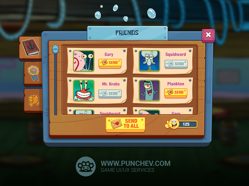 SpongeBob: Krusty Cook-Off studiopunchev ui interface game gui ux illustration punchev design