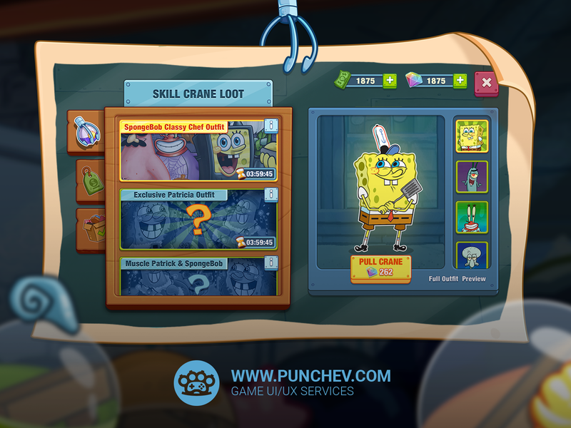SpongeBob: Krusty Cook-Off mobile game design interface logo studiopunchev illustration ux gui ui