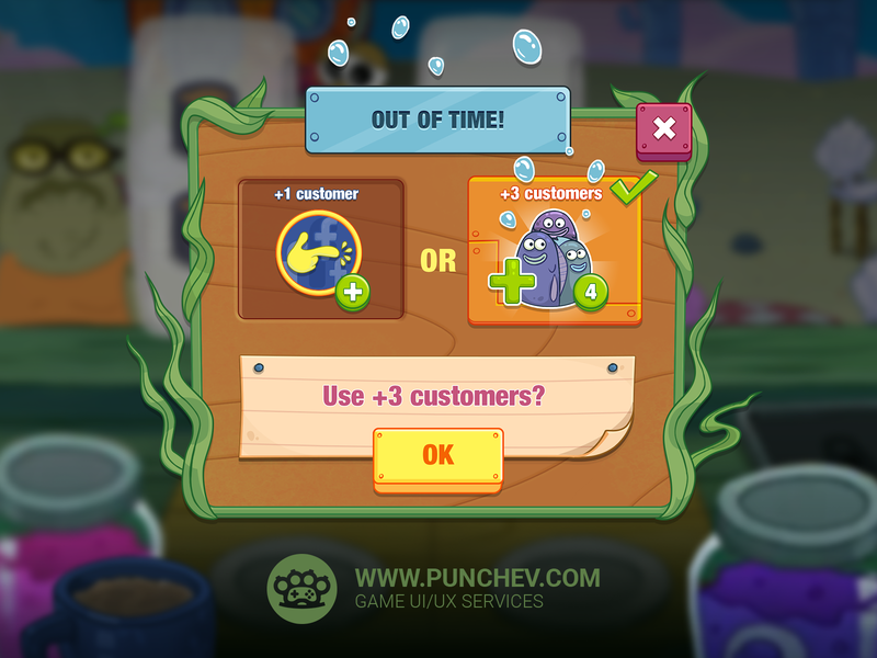 SpongeBob: Krusty Cook-Off design mobile game interface studiopunchev illustration ux gui ui