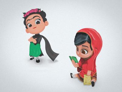 Little Frida Kahlo & Malala Yousafzai Illustrations