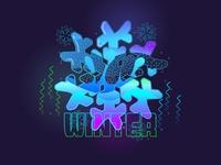 Colorful Ice Flower Illustration