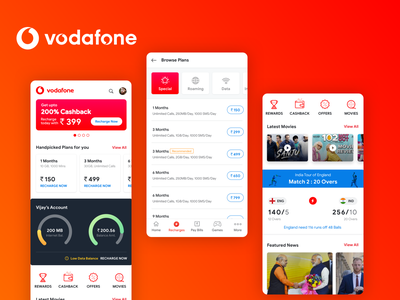 Vodafone Redesign Concept vodafone india androidappdesign ui app design flatdesign android app bill payment vodafone red vodafone