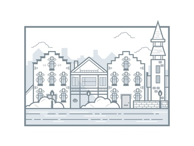 Buildings illustration buildings houses vector line drawing