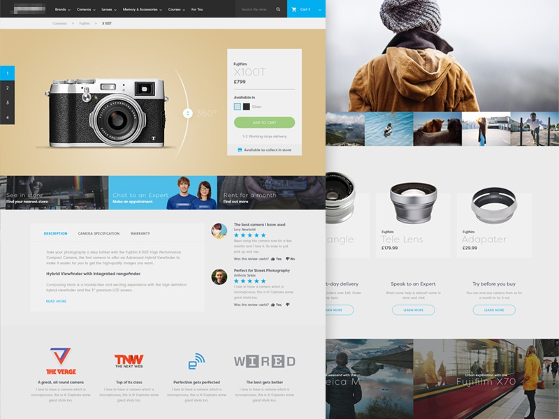 Camera Store camera photography store ui web ecommerce shop