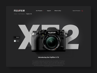 X T2 ecommerce interface ui web fujifilm product page camera