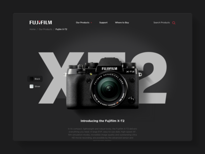 X T2 ecommerce interface ui web fujifilm product page camera