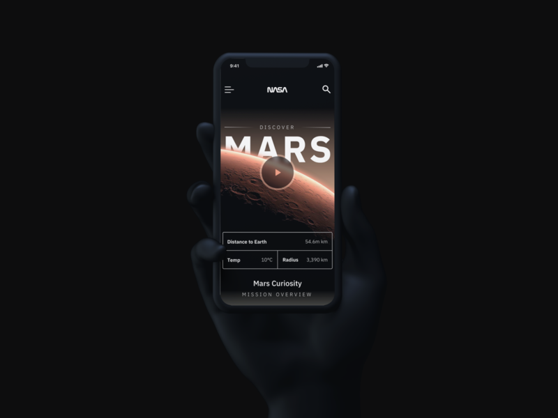 Mars space nasa iphone app mobile ui