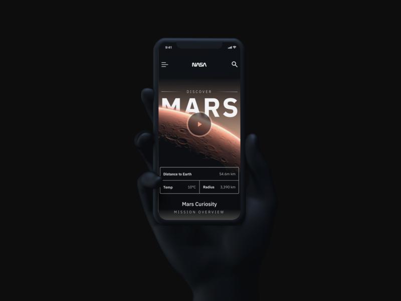 Mars space nasa iphone app mobile ui