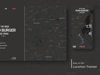 Daily UI - Location Tracker location app map burger dark clean ui clean minimal desktop mobile design ui dailyuichallenge daily 100 challenge location tracker location 020 dailyui
