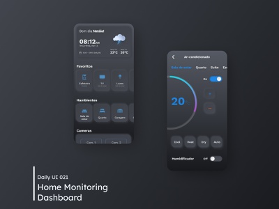 Daily UI - Home Monitoring Dashboard neomorphism monitors home dashboad dark clean ui mobile ui daily 100 challenge clean minimal mobile ui design dailyuichallenge 021 dailyui