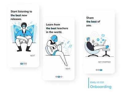 Daily UI - Onboarding mobile ui dailyui 023 learn onboarding steps app music white clean minimal mobile design ui daily 100 challenge dailyuichallenge 023 dailyui