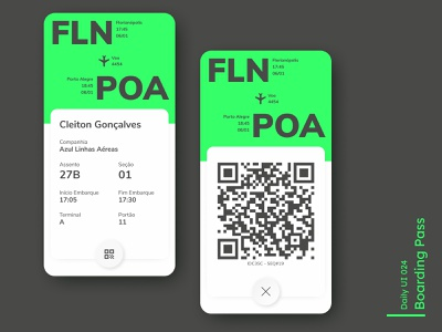Daily UI - Boarding Pass qr code fly ticket boarding pass app white mobile ui minimal clean mobile design ui daily 100 challenge dailyuichallenge 024 dailyui