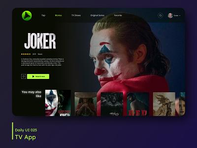 Daily UI - TV App netflix movies tv app movie joker desktop design ui dailyuichallenge daily 100 challenge 025 dailyui