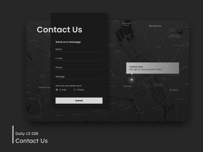 Daily UI - Contact Us inputs submit contact form contact us form adress map message contact dark ui dark mode desktop design ui dailyuichallenge 028 dailyui
