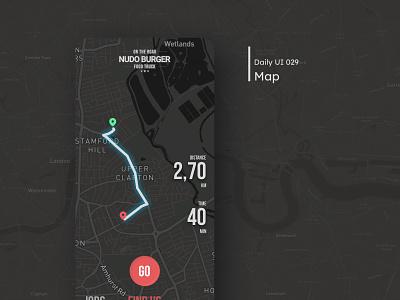 Daily UI - Map dark mobile ui clean mobile design daily 100 challenge ui dailyuichallenge map 029 dailyui