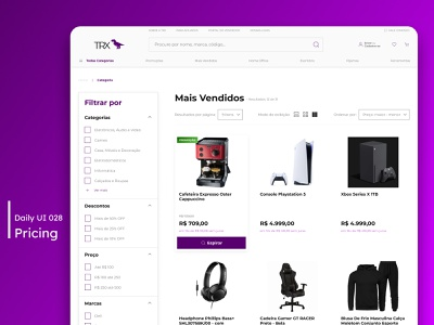 Daily UI - Pricing pricing filter store purple list products ecommerce commerce white desktop design daily 100 challenge ui dailyuichallenge 030 dailyui