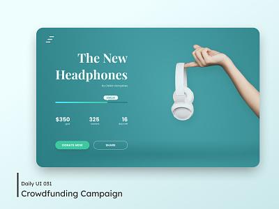Daily UI - Crowdfunding Campaign 032 money statusbar status headphone green donate campaign crowdfunding clean ui clean minimal design desktop daily 100 challenge dailyuichallenge ui dailyui