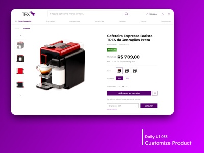 Daily UI - Customize Product customize customize product product page ui daily 100 challenge dailyuichallenge desktop design white commerce ecommerce product store pricing 033 dailyui