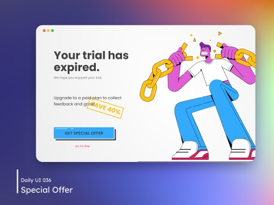 Daily UI - Special Offer expired upgrade special offer offer trial colorfull illustration design desktop dailyuichallenge daily 100 challenge ui 036 dailyui