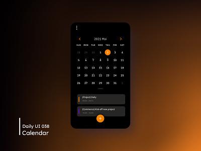 Daily UI - Calendar dark ui mobile mobile ui calendar daily 100 challenge design dailyuichallenge 038 ui dailyui