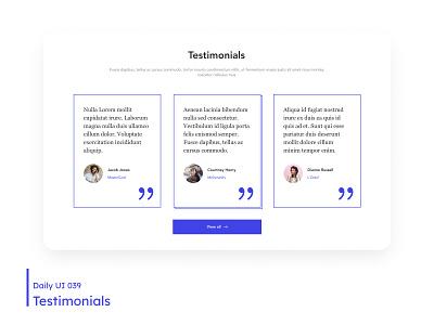 Daily UI - Testimonials testimonials clean ui white minimal clean desktop design dailyuichallenge daily 100 challenge ui 039 dailyui