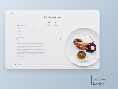 Daily UI - Recipe restaurant dish food recipe white clean ui minimal clean desktop design dailyuichallenge daily 100 challenge ui 040 dailyui