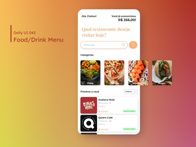 Daily UI - Food/Drink Menu food app lunch drink food menu mobile mobile ui design dailyuichallenge daily 100 challenge ui 043 dailyui