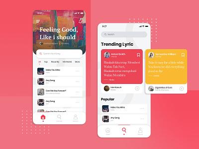 Music Lyric Social Media App ui design website mobile design ux ui red mobile minimal flat design clean app