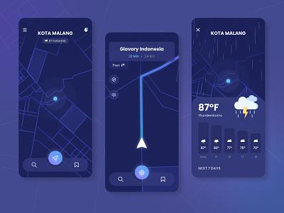 Navigation Map App Design Dark Mode wather google maps uiux maps app navigation app maps dark app dark ui dark minimal flat mobile design mobile interaction design clean ui design design app ux ui