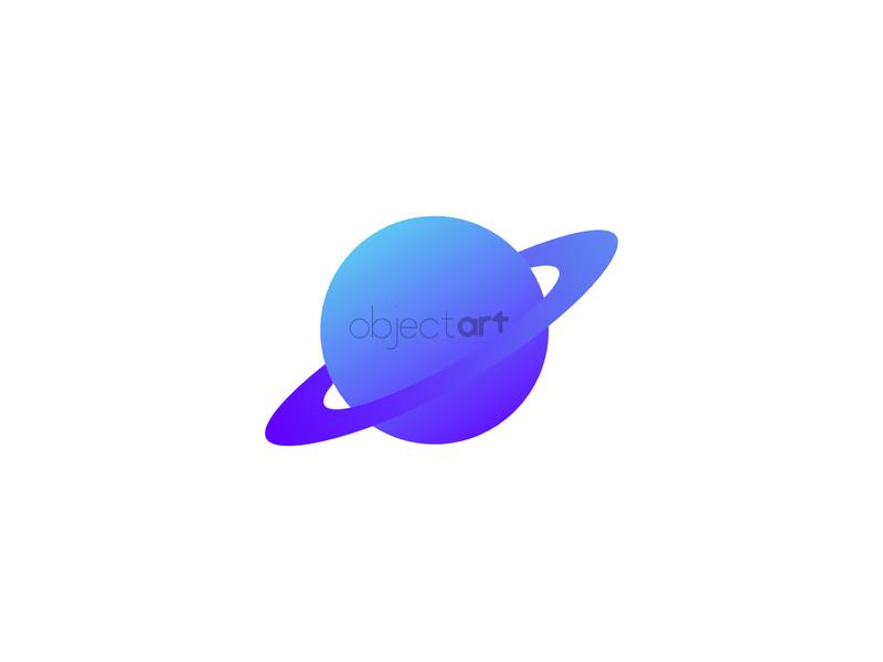 ObjectArt branding saturn planet minimal typography icon branding logo flat design vector