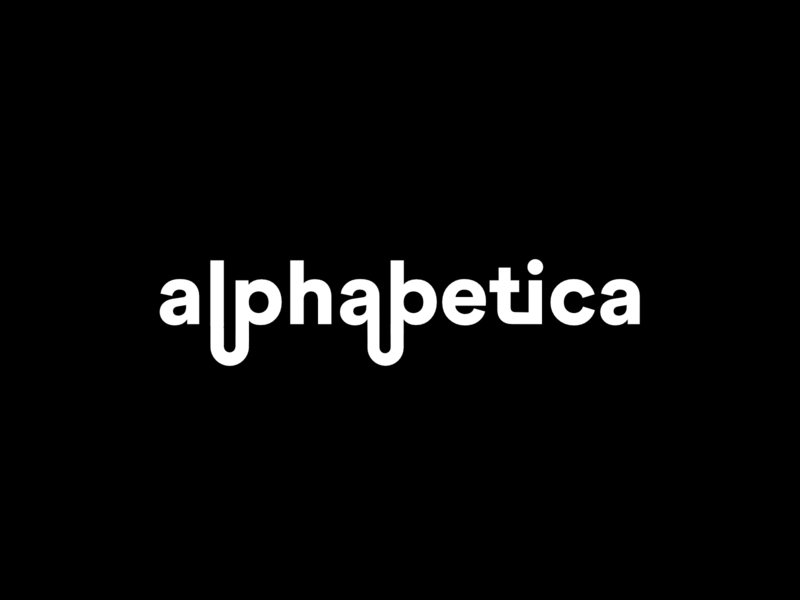 Alphabetica wordmark letters type modified modified type greyscale grayscale black scratch minimal typography flat branding vector design