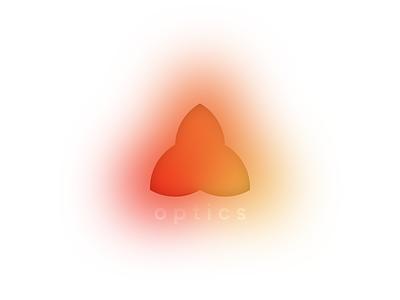 Optics branding scratch text gaussian blur red orange color optics minimal typography logo vector design