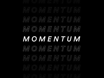 Momentum brand identity minimalistic conference retreat monochrome black minimal typography branding flat vector design