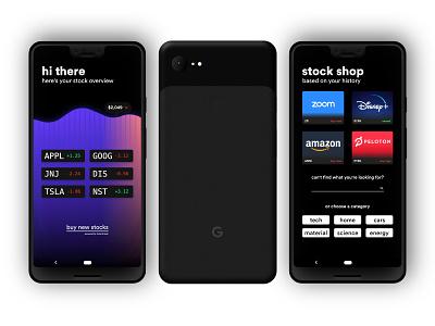 Stock UI android pixel pixel 3 google phone app trading stocks mobile phone typography illustration app ux ui vector design