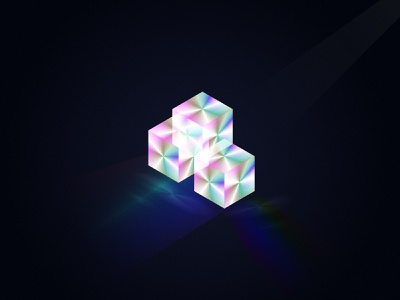 The Cubes glass spectrum color cold darkness blur effects ice 3d dark design illustration