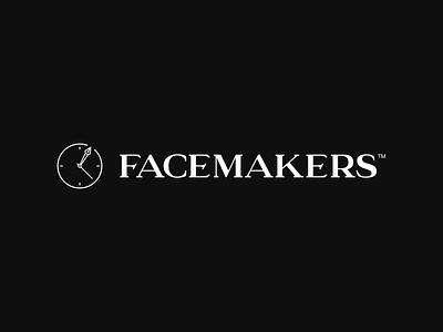Facemakers branding pen time clock gray black icon flatdesign minimal typography logo font serif vector flat branding design