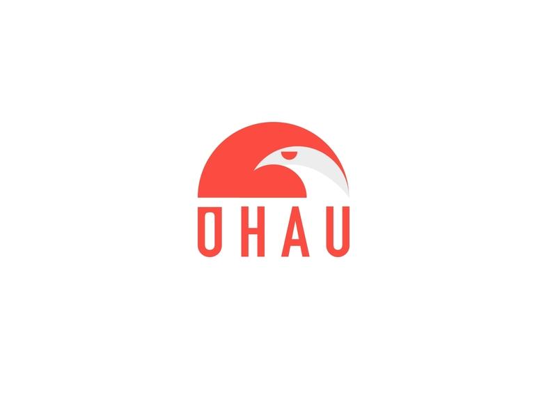 OHAU branding icon flat branding vector design falcon wordmark logo bird logo hawk bird ohau