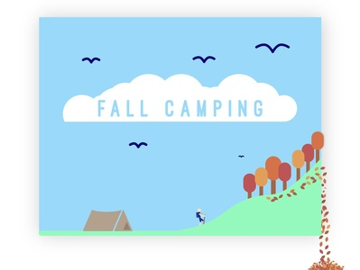 Fall Camping person clouds birds trees illustration vector typography design 3d flat tent camping