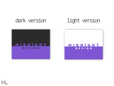 Midnight Design wordmark darkmode black purple star scratch typography illustration flat vector logo branding design