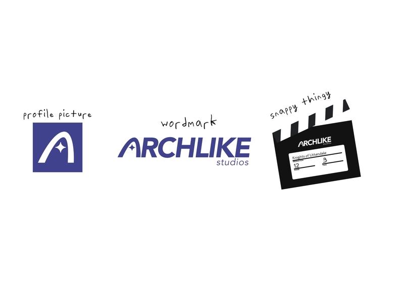 Archlike Animation Studios branding flatdesign icon scratch movie black blue icons as letters typography logo branding flat vector design