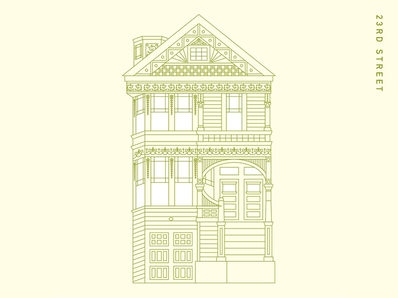 Victorian House II architecture lineart vector illustrator graphicdesgn
