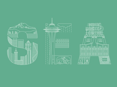 Seattle Airport Code travel lettering typography graphic design illustrator icon illustration flat design branding vector