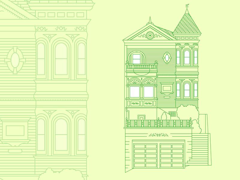 Victorian House travel marketing graphic design illustrator identity icon illustration flat design branding vector